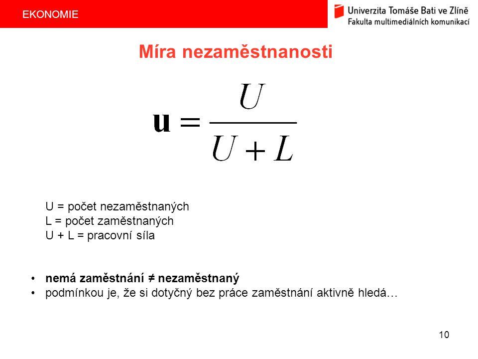 EKONOMIE 10 Míra nezaměstnanosti U = počet nezaměstnaných L = počet zaměstnaných U + L = pracovní síla nemá zaměstnání ≠ nezaměstnaný podmínkou je, že