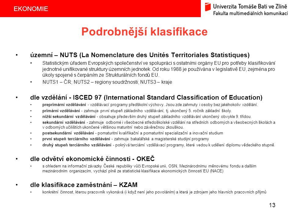 EKONOMIE 13 Podrobnější klasifikace územní – NUTS (La Nomenclature des Unités Territoriales Statistiques) Statistickým úřadem Evropských společenství