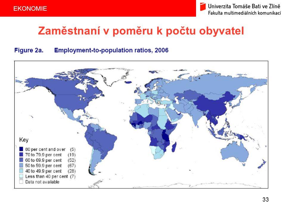EKONOMIE 33 Zaměstnaní v poměru k počtu obyvatel