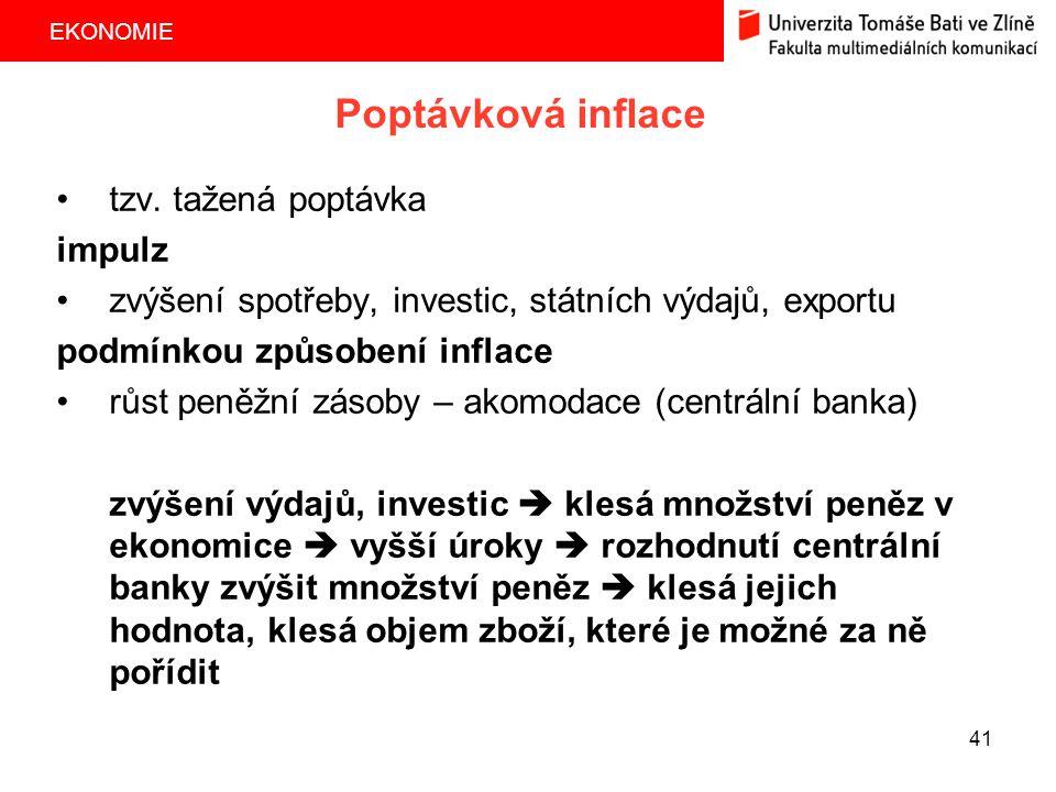 EKONOMIE 41 Poptávková inflace tzv. tažená poptávka impulz zvýšení spotřeby, investic, státních výdajů, exportu podmínkou způsobení inflace růst peněž