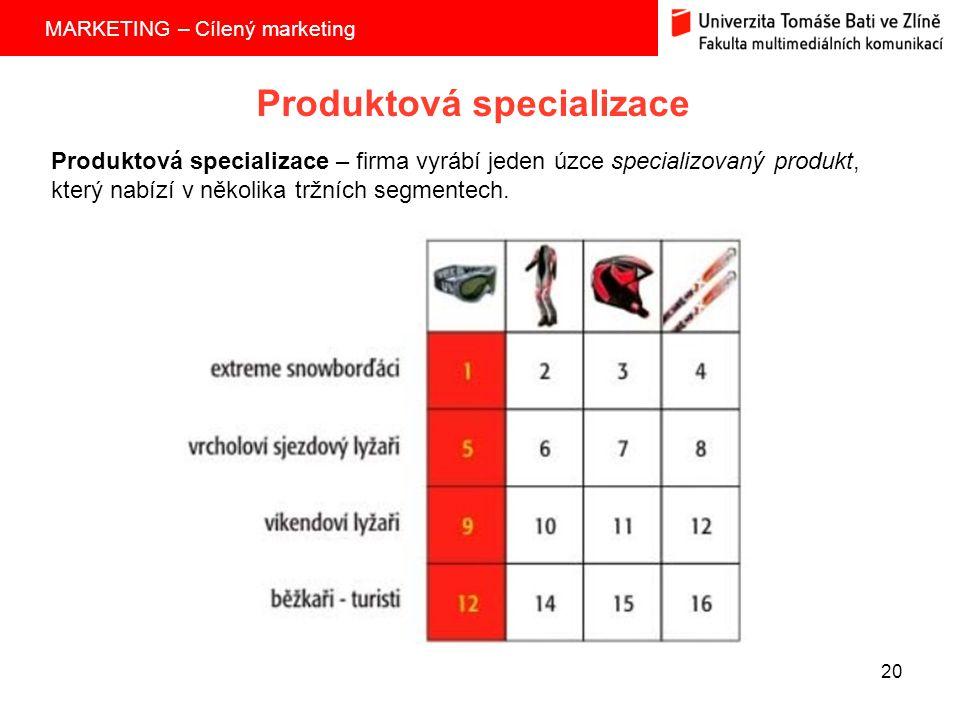 MARKETING – Cílený marketing 20 Produktová specializace Produktová specializace – firma vyrábí jeden úzce specializovaný produkt, který nabízí v několika tržních segmentech.