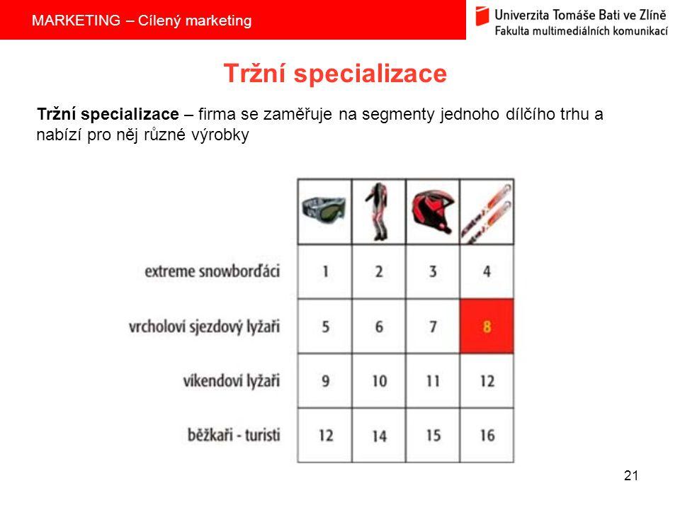MARKETING – Cílený marketing 21 Tržní specializace Tržní specializace – firma se zaměřuje na segmenty jednoho dílčího trhu a nabízí pro něj různé výrobky