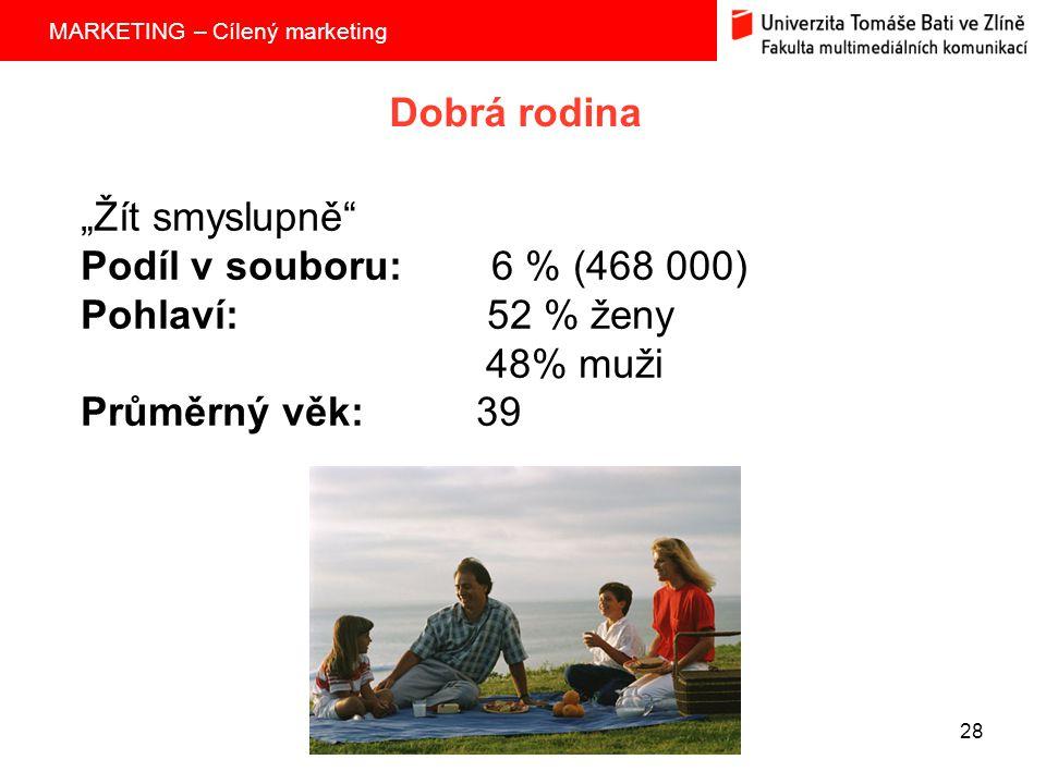 """MARKETING – Cílený marketing 28 Dobrá rodina """"Žít smyslupně Podíl v souboru: 6 % (468 000) Pohlaví: 52 % ženy 48% muži Průměrný věk: 39"""