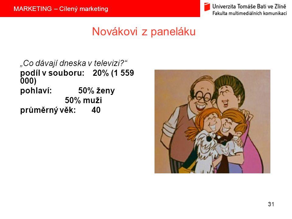 """MARKETING – Cílený marketing 31 Novákovi z paneláku """"Co dávají dneska v televizi? podíl v souboru: 20% (1 559 000) pohlaví: 50% ženy 50% muži průměrný věk: 40"""