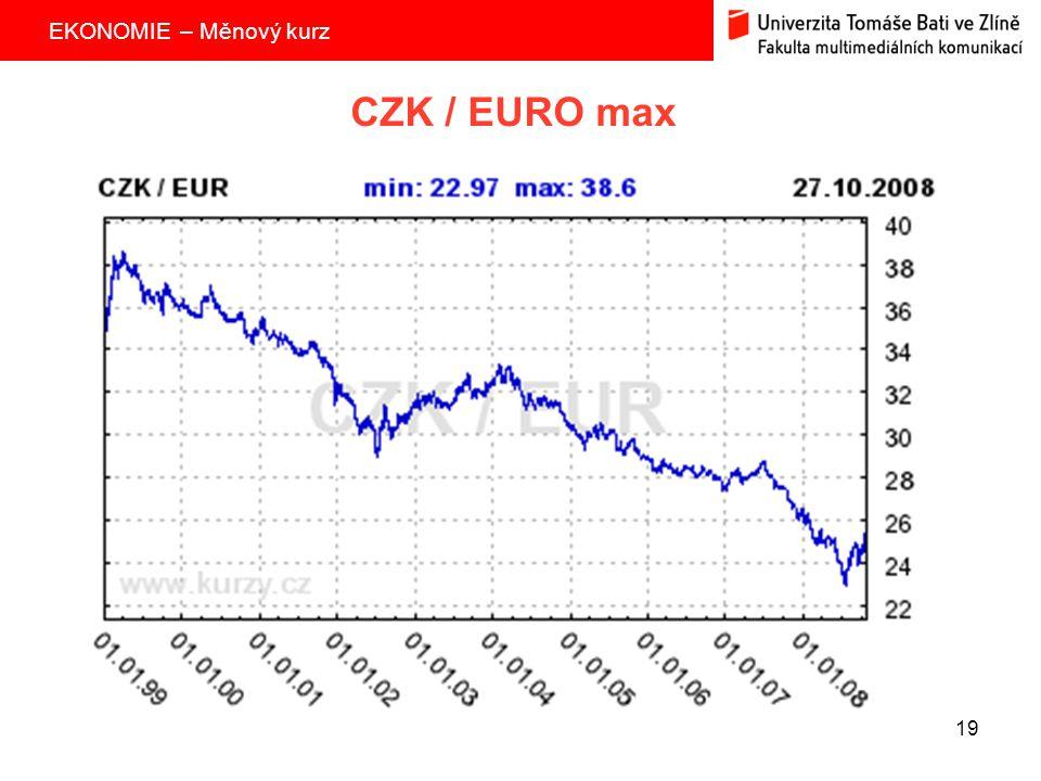 EKONOMIE – Měnový kurz 19 CZK / EURO max