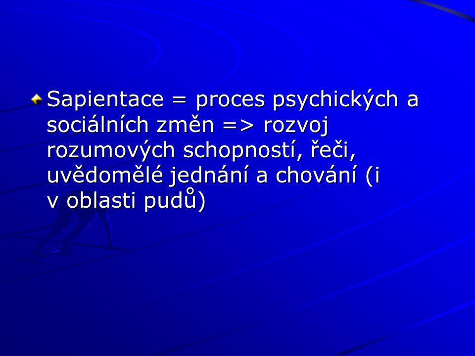 Sapientace = proces psychických a sociálních změn => rozvoj rozumových schopností, řeči, uvědomělé jednání a chování (i v oblasti pudů)