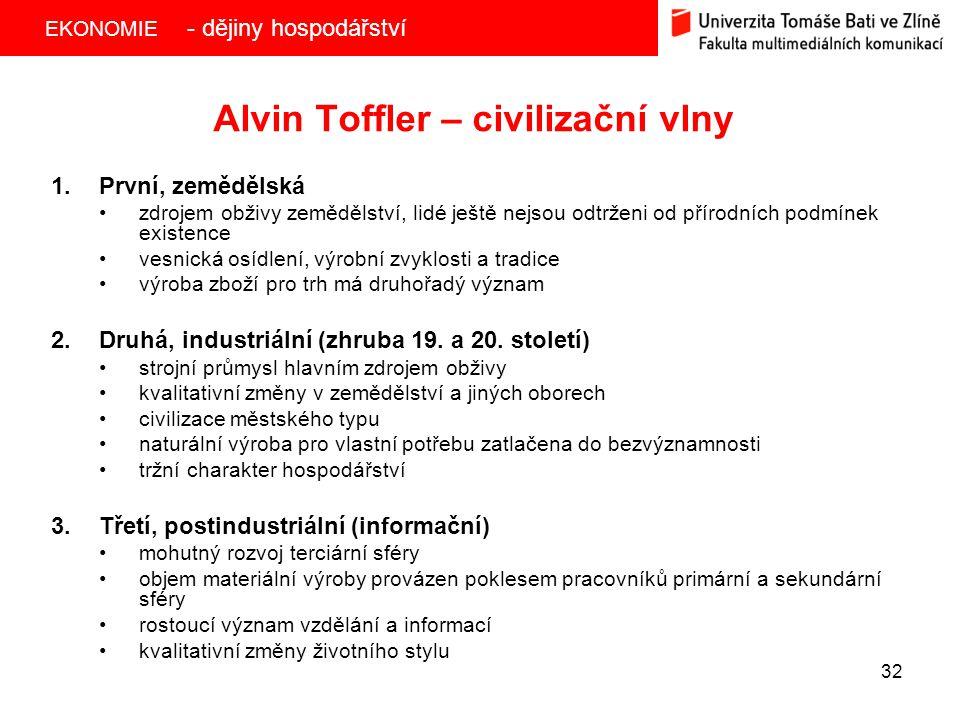 EKONOMIE 32 Alvin Toffler – civilizační vlny 1.První, zemědělská zdrojem obživy zemědělství, lidé ještě nejsou odtrženi od přírodních podmínek existence vesnická osídlení, výrobní zvyklosti a tradice výroba zboží pro trh má druhořadý význam 2.Druhá, industriální (zhruba 19.
