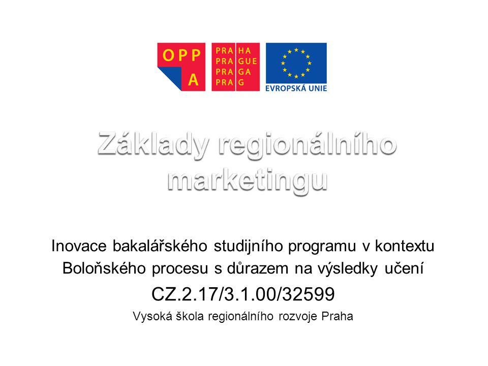 Inovace bakalářského studijního programu v kontextu Boloňského procesu s důrazem na výsledky učení CZ.2.17/3.1.00/32599 Vysoká škola regionálního rozvoje Praha
