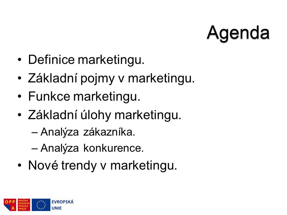 Definice marketingu. Základní pojmy v marketingu.