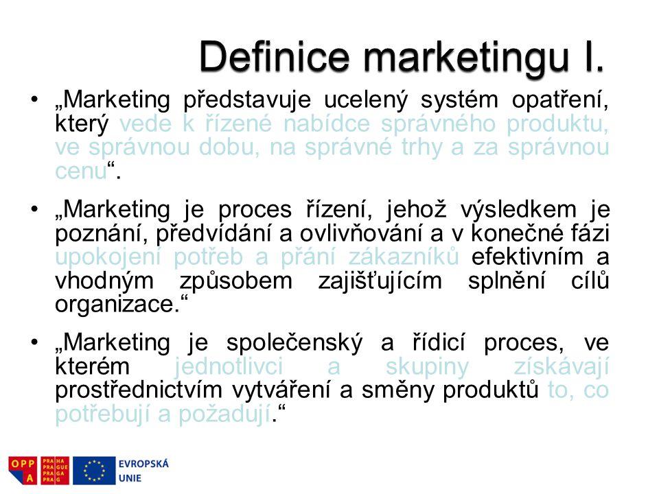 """""""Marketing představuje ucelený systém opatření, který vede k řízené nabídce správného produktu, ve správnou dobu, na správné trhy a za správnou cenu ."""