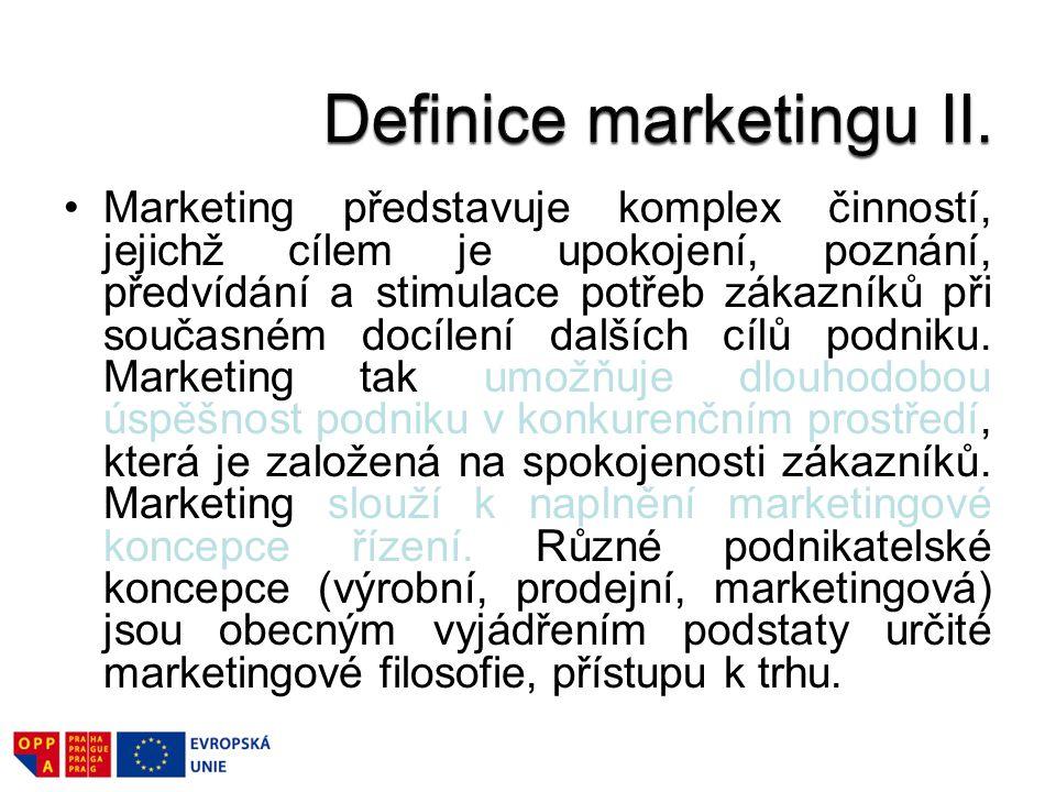 Marketing představuje komplex činností, jejichž cílem je upokojení, poznání, předvídání a stimulace potřeb zákazníků při současném docílení dalších cílů podniku.