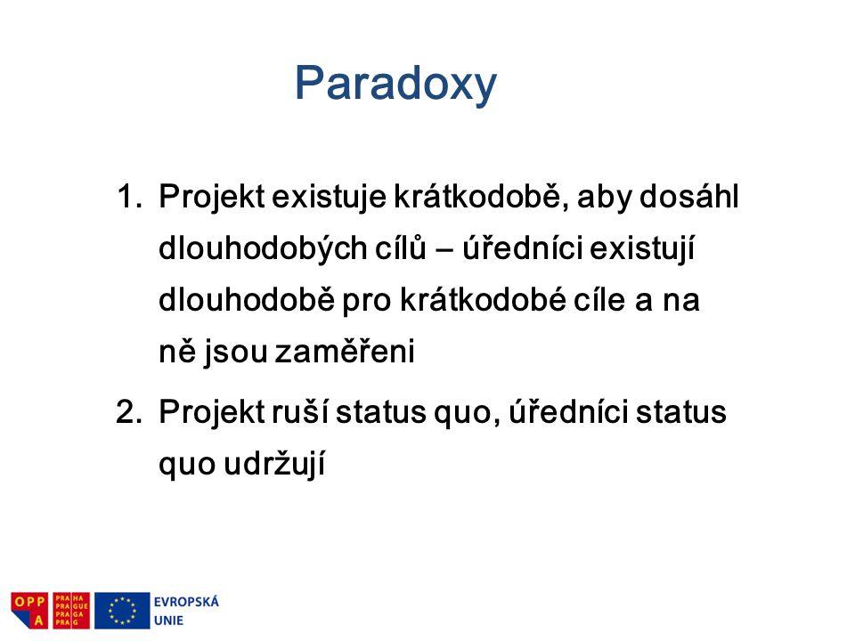 Paradoxy 1.Projekt existuje krátkodobě, aby dosáhl dlouhodobých cílů – úředníci existují dlouhodobě pro krátkodobé cíle a na ně jsou zaměřeni 2.Projek