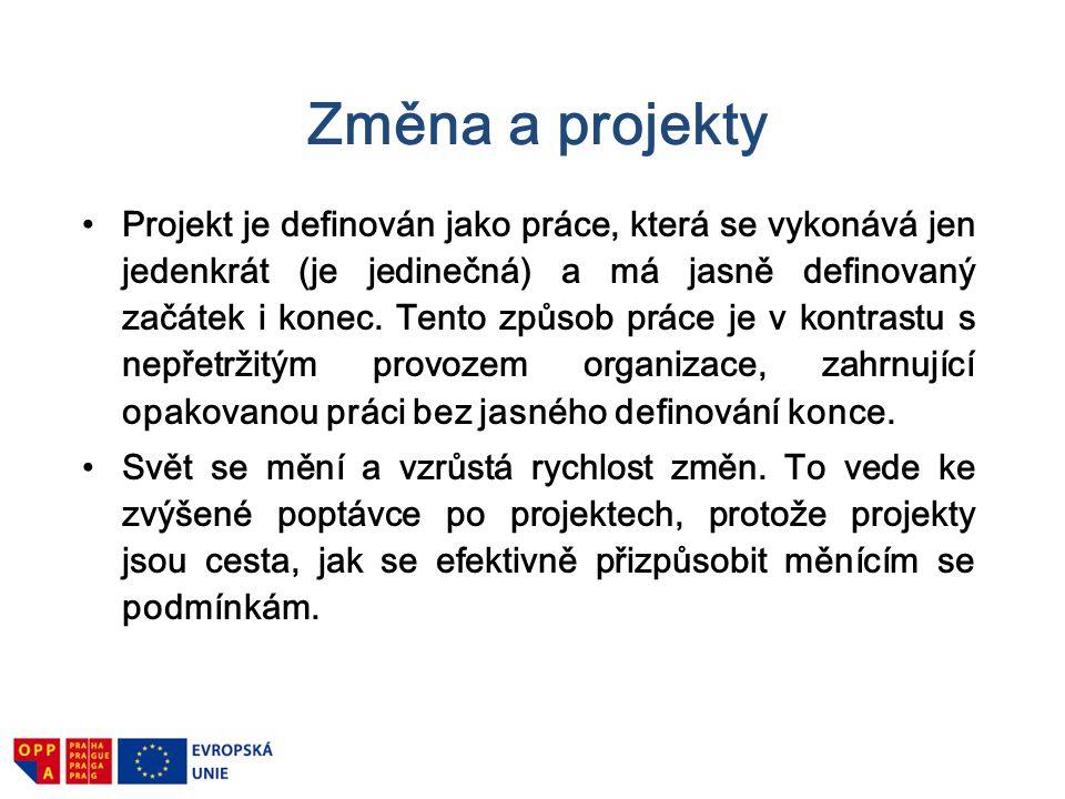 Změna a projekty Projekt je definován jako práce, která se vykonává jen jedenkrát (je jedinečná) a má jasně definovaný začátek i konec. Tento způsob p