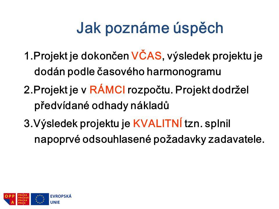 Jak poznáme úspěch 1.Projekt je dokončen VČAS, výsledek projektu je dodán podle časového harmonogramu 2.Projekt je v RÁMCI rozpočtu. Projekt dodržel p