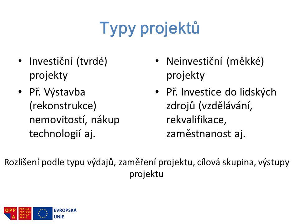 Typy projektů Investiční (tvrdé) projekty Př. Výstavba (rekonstrukce) nemovitostí, nákup technologií aj. Neinvestiční (měkké) projekty Př. Investice d