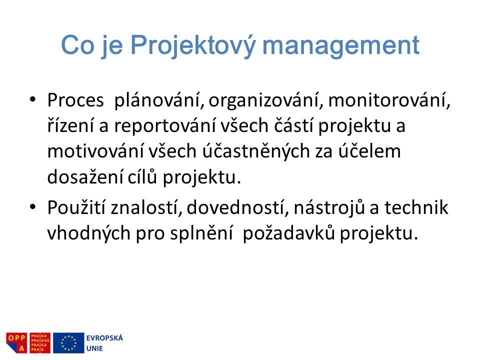 Co je Projektový management Proces plánování, organizování, monitorování, řízení a reportování všech částí projektu a motivování všech účastněných za