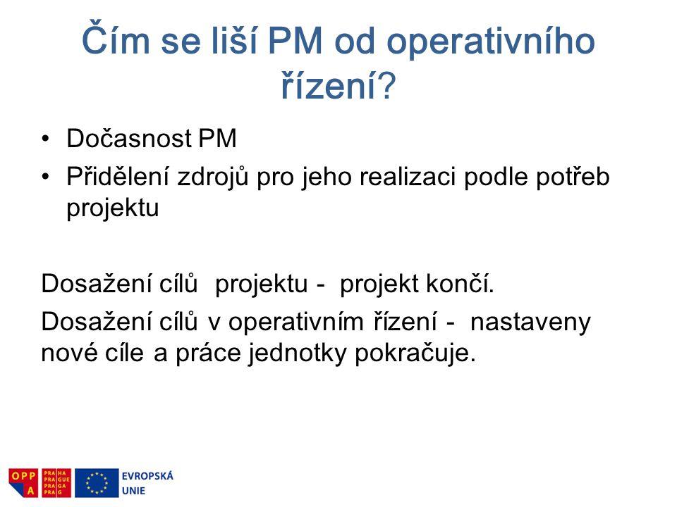 Čím se liší PM od operativního řízení? Dočasnost PM Přidělení zdrojů pro jeho realizaci podle potřeb projektu Dosažení cílů projektu - projekt končí.