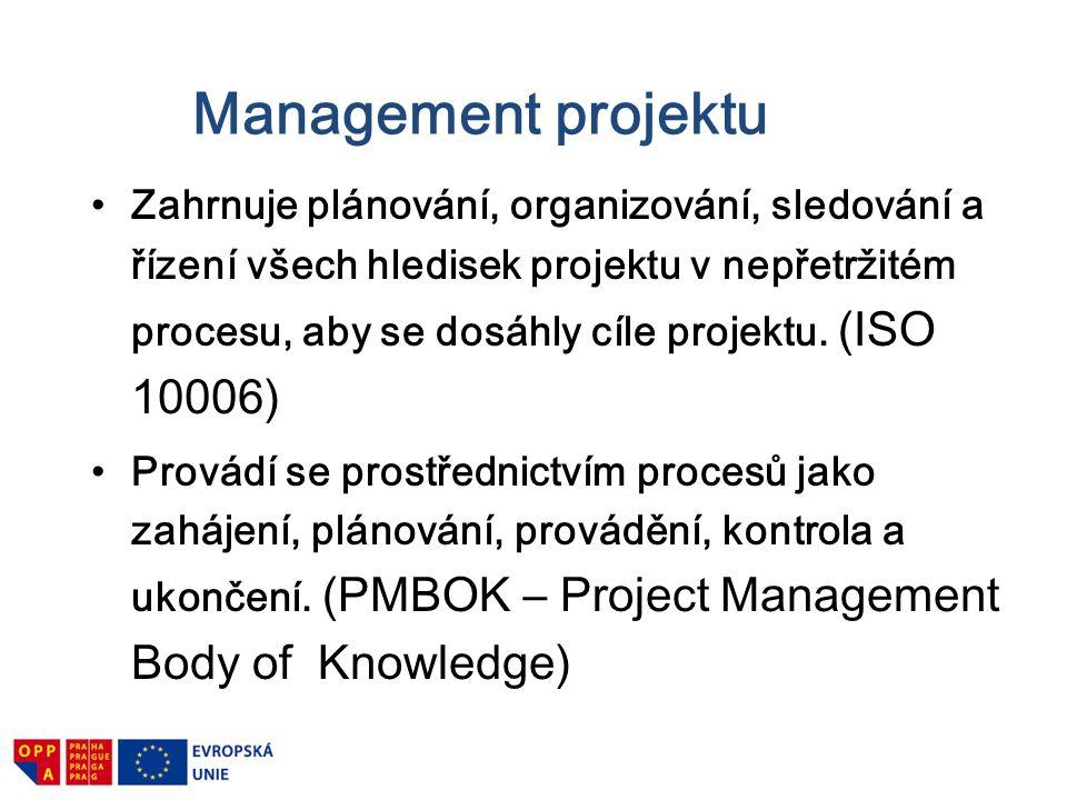 Management projektu Zahrnuje plánování, organizování, sledování a řízení všech hledisek projektu v nepřetržitém procesu, aby se dosáhly cíle projektu.