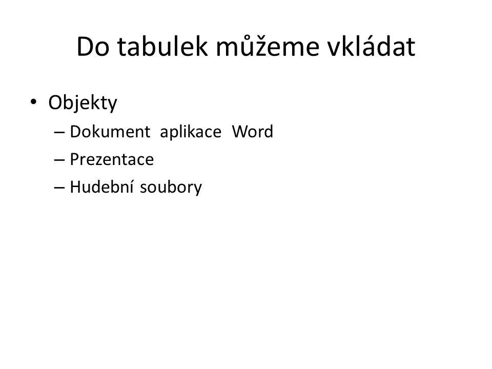 Do tabulek můžeme vkládat Objekty – Dokument aplikace Word – Prezentace – Hudební soubory