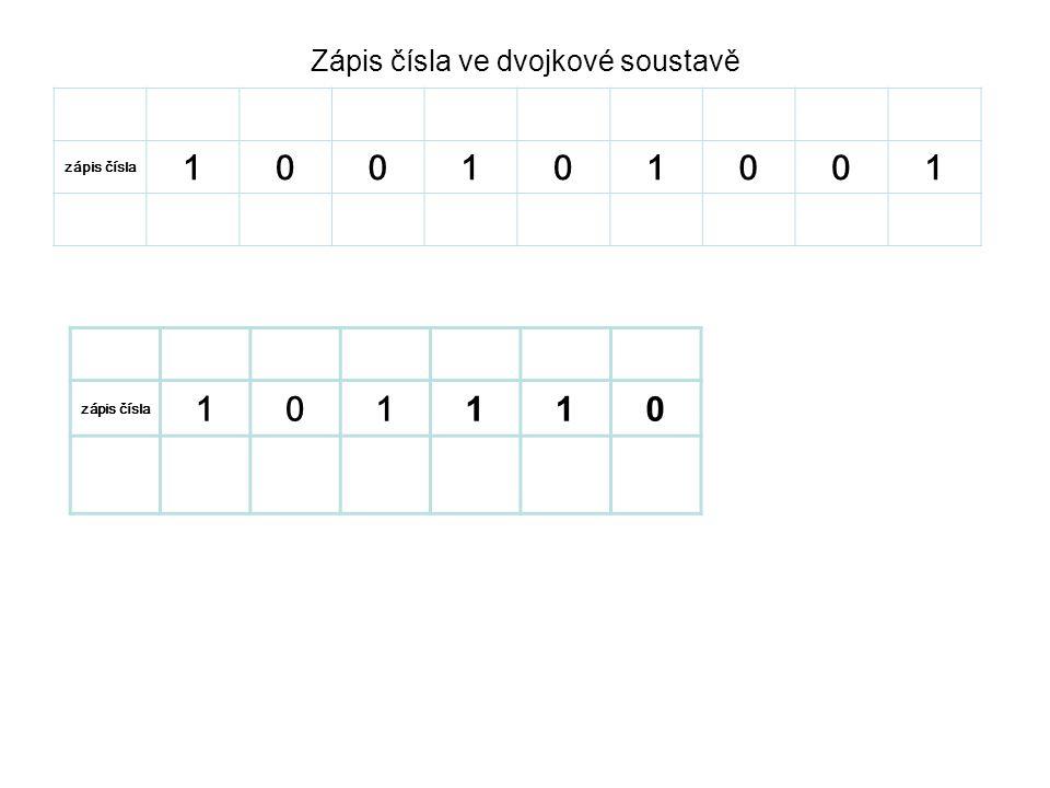 Zápis čísla ve dvojkové soustavě řád 2828 2727 2626 2525 2424 23232 2121 2020 zápis čísla 100101001 sečteme čísla 256003208001 řád 2525 2424 23232 2121 2020 zápis čísla 101 110 sečteme čísla 3208420