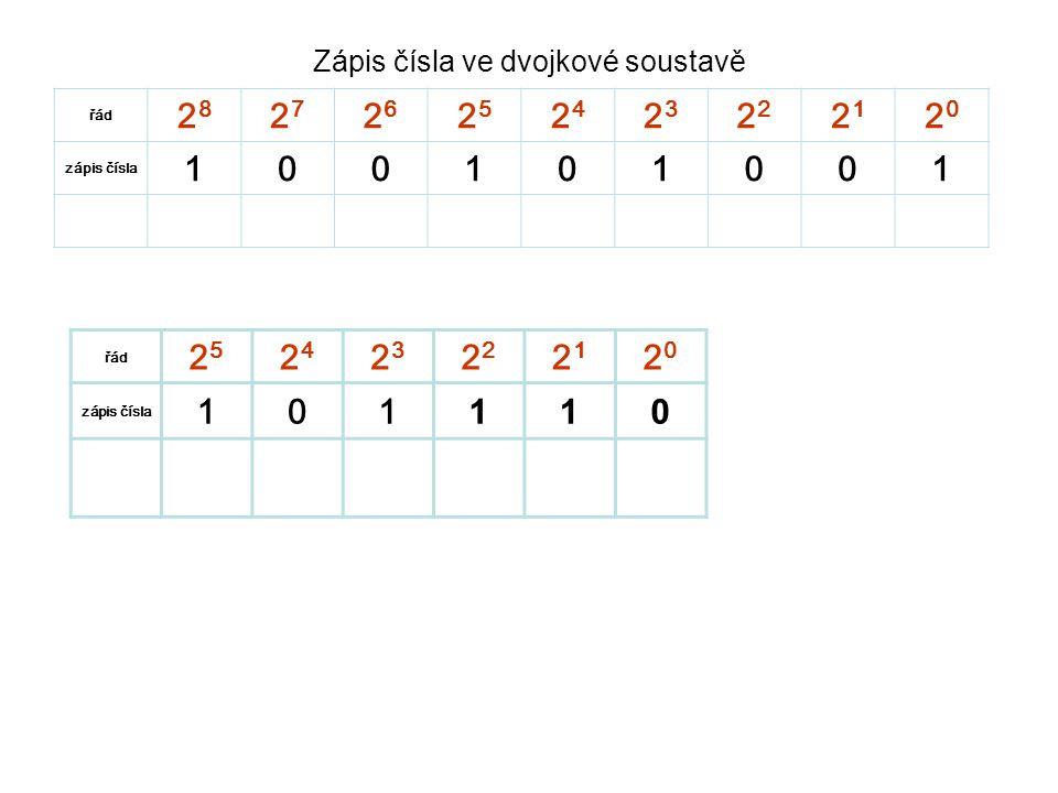 Zápis čísla ve dvojkové soustavě řád 2828 2727 2626 2525 2424 23232 2121 2020 zápis čísla 100101001 sečteme čísla 256003208001 Takže číslo 100101001 je v desítkové soustavě 256+32+8+1= 297 řád 2525 2424 23232 2121 2020 zápis čísla 101 110 sečteme čísla 3208420 Číslo 101110 je v desítkové soustavě 32+8+4+2= 46