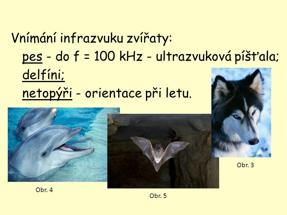 Vnímání infrazvuku zvířaty: pes - do f = 100 kHz - ultrazvuková píšťala; delfíni; netopýři - orientace při letu. Obr. 4 Obr. 5 Obr. 3