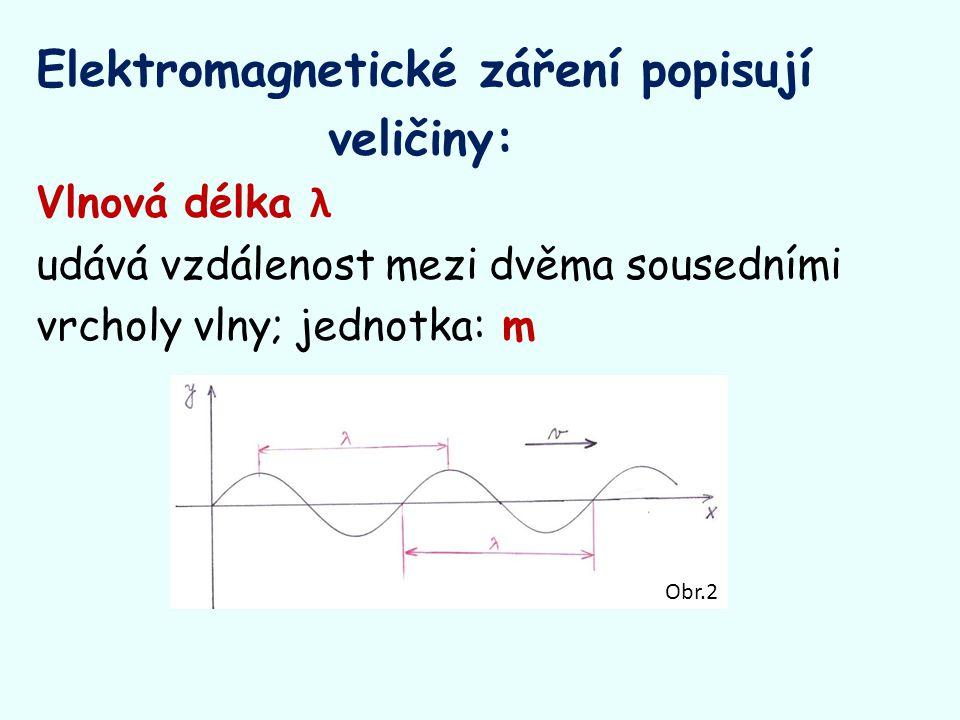Elektromagnetické záření popisují veličiny: Vlnová délka λ udává vzdálenost mezi dvěma sousedními vrcholy vlny; jednotka: m Obr.2