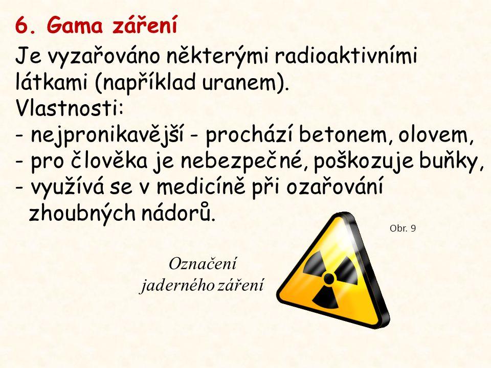 6. Gama záření Je vyzařováno některými radioaktivními látkami (například uranem).