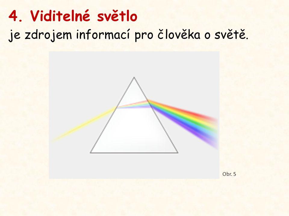 4. Viditelné světlo je zdrojem informací pro člověka o světě. Obr. 5