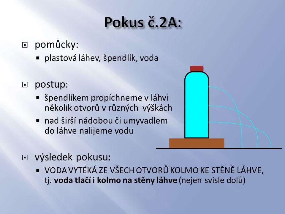  pomůcky:  mikrotenový sáček, špendlík, voda  postup:  do sáčku nalijeme vodu, uzavřeme ho a pozorujeme tvar sáčku  poté do sáčku uděláme malý otvor špendlíkem  výsledek pokusu:  nejprve pozorujeme, že sáček se zaoblí, což je způsobeno tlakovou silou vody na stěny sáčku  v místě otvoru v sáčku voda vystřikuje kolmo ke stěně sáčku a to i při jakékoli změně tvaru sáčku, dokonce i nahoru