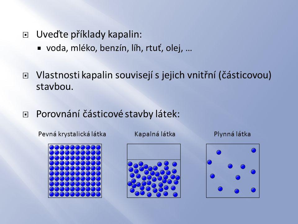  Uveďte příklady kapalin:  voda, mléko, benzín, líh, rtuť, olej, …  Vlastnosti kapalin souvisejí s jejich vnitřní (částicovou) stavbou.  Porovnání