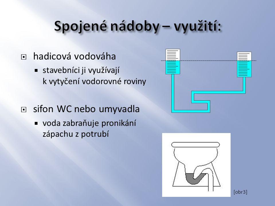  hadicová vodováha  stavebníci ji využívají k vytyčení vodorovné roviny  sifon WC nebo umyvadla  voda zabraňuje pronikání zápachu z potrubí [obr3]