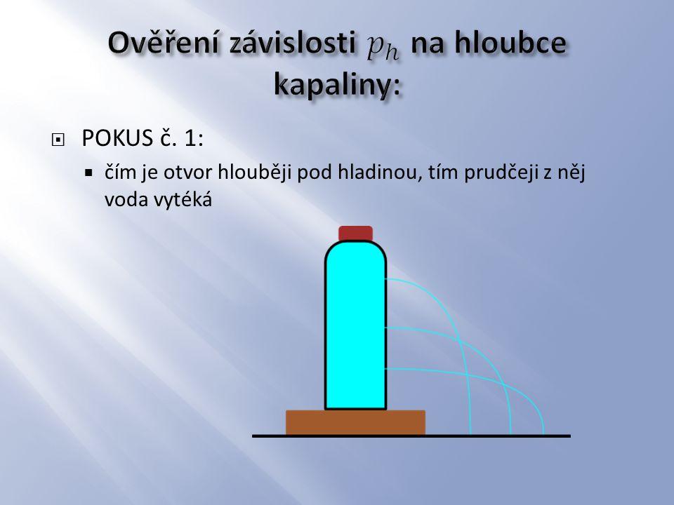  POKUS č. 1:  čím je otvor hlouběji pod hladinou, tím prudčeji z něj voda vytéká