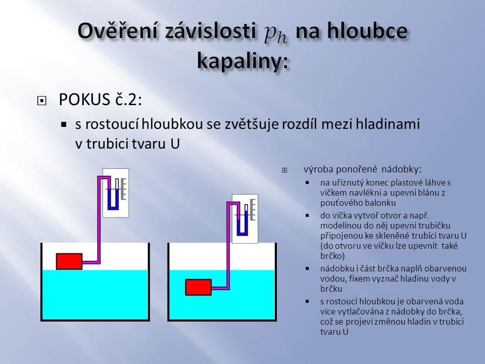  POKUS č.2:  s rostoucí hloubkou se zvětšuje rozdíl mezi hladinami v trubici tvaru U  výroba ponořené nádobky:  na uříznutý konec plastové láhve s