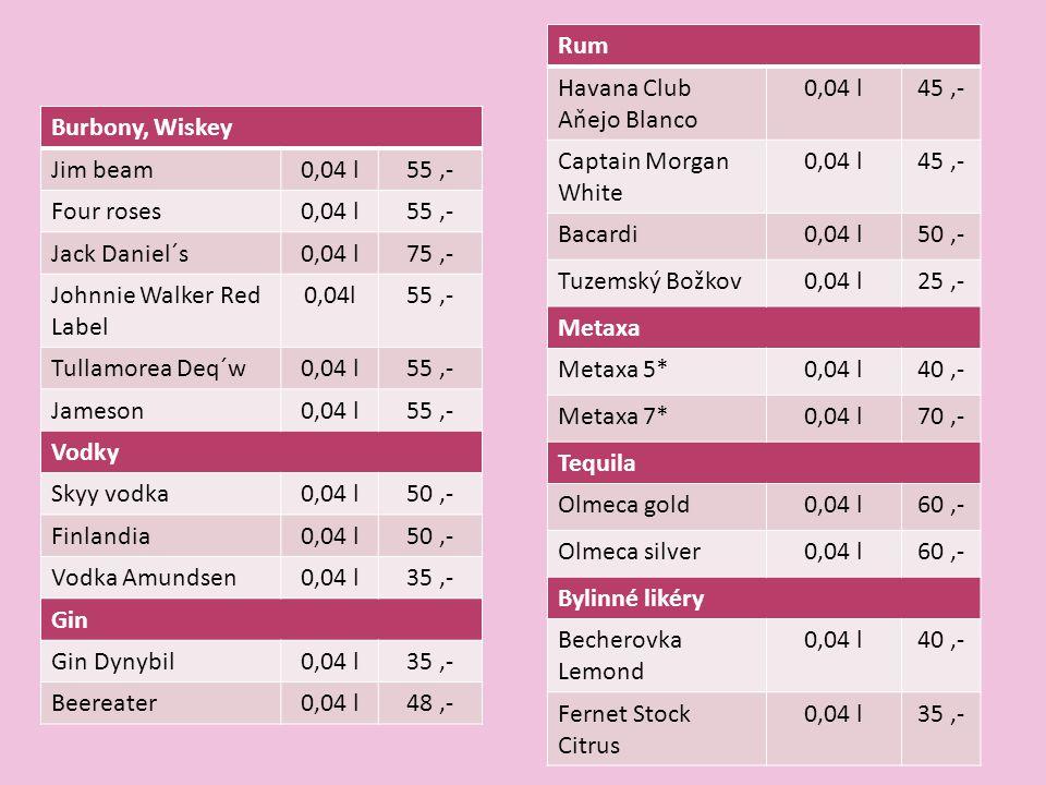 Burbony, Wiskey Jim beam0,04 l55,- Four roses0,04 l55,- Jack Daniel´s0,04 l75,- Johnnie Walker Red Label 0,04l55,- Tullamorea Deq´w0,04 l55,- Jameson0