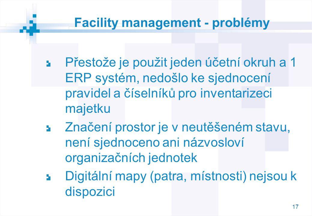 17 Facility management - problémy Přestože je použit jeden účetní okruh a 1 ERP systém, nedošlo ke sjednocení pravidel a číselníků pro inventarizeci majetku Značení prostor je v neutěšeném stavu, není sjednoceno ani názvosloví organizačních jednotek Digitální mapy (patra, místnosti) nejsou k dispozici