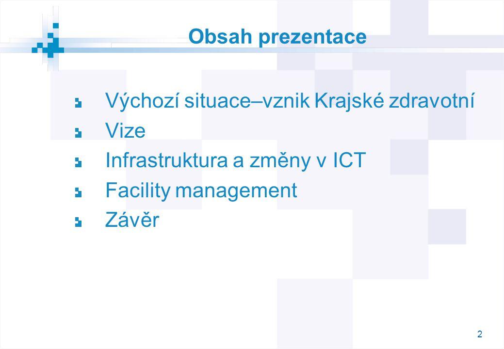 2 Obsah prezentace Výchozí situace–vznik Krajské zdravotní Vize Infrastruktura a změny v ICT Facility management Závěr