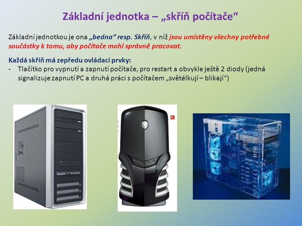 """3 Interní komponenty PC Obsah """"skříně počítače o Základní deska + sběrnice o Procesor o Harddisk (pevný disk) o Operační paměť RAM (Random access memory) o Sloty o Přídavné karty o Optická mechanika o (CD, DVD - R,RW mechaniky) o Blu-ray o Zdroj napájení"""