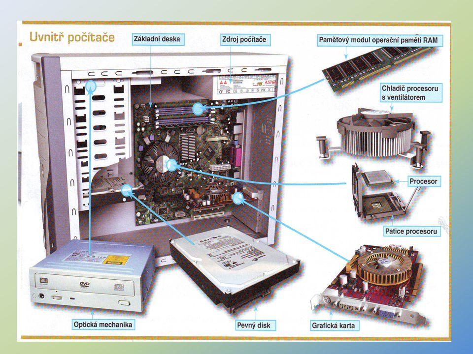 5 Interní komponenty – detailní popis Základní deska (motherboard – mateřská deska) - je na ní umístěno velké množství součástek, integrovaných obvodů, vodivých spojů, konektorů a slotů.