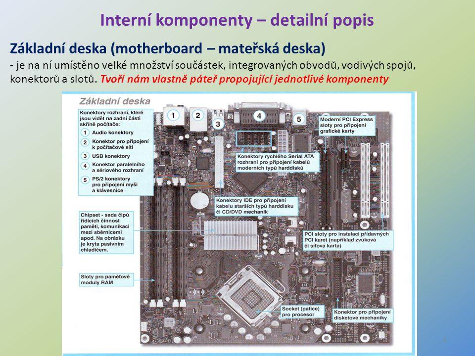 5 Interní komponenty – detailní popis Základní deska (motherboard – mateřská deska) - je na ní umístěno velké množství součástek, integrovaných obvodů