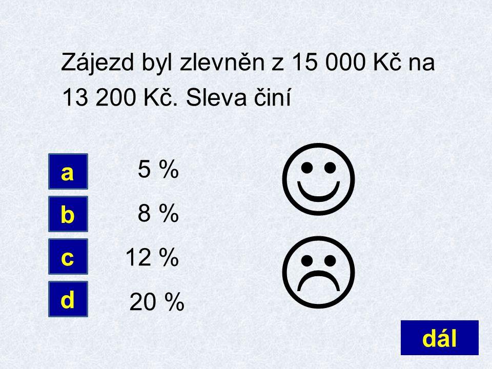 Zájezd byl zlevněn z 15 000 Kč na 13 200 Kč. Sleva činí 5 % 8 % 12 % 20 % dál d a b c 