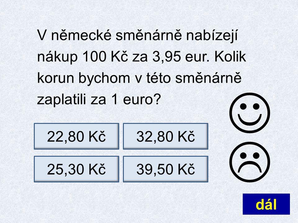V německé směnárně nabízejí nákup 100 Kč za 3,95 eur.