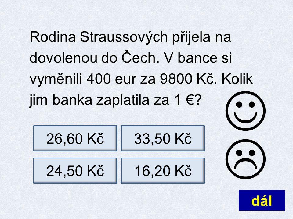 Rodina Straussových přijela na dovolenou do Čech.V bance si vyměnili 400 eur za 9800 Kč.