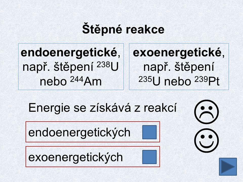 Štěpné reakce endoenergetických endoenergetické, např. štěpení 238 U nebo 244 Am exoenergetické, např. štěpení 235 U nebo 239 Pt Energie se získává z
