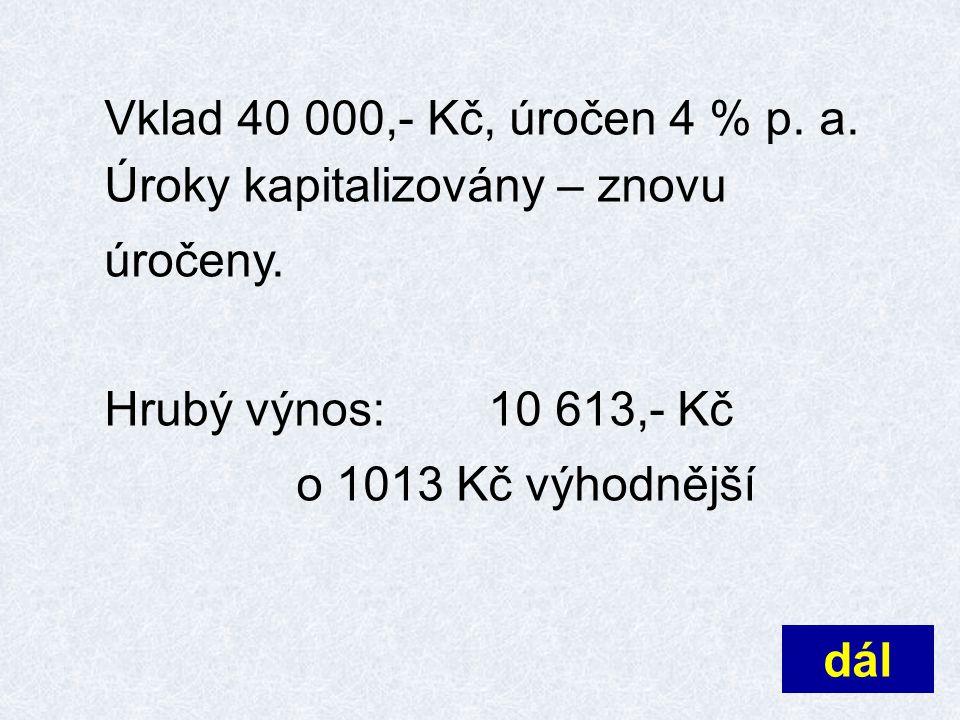 Vklad 40 000,- Kč, úročen 4 % p.a. po 1. roce… 41 600 Kč po 2.