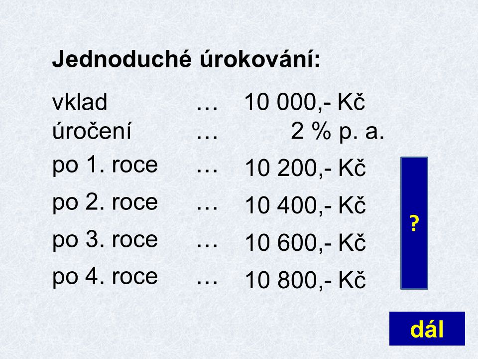 Jednoduché úrokování: vklad …10 000,- Kč úročení…2 % p. a. po 1. roce… po 2. roce… po 3. roce… po 4. roce… dál ? 10 200,- Kč 10 400,- Kč 10 600,- Kč 1