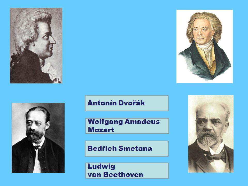 přiřaď ke jménům skladatelů jejich portréty a názvy jejich skladeb W.A.
