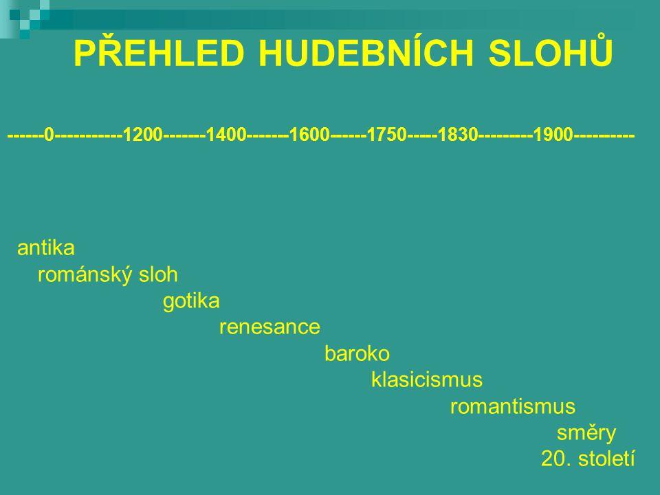 PŘEHLED HUDEBNÍCH SLOHŮ ------0-----------1200-------1400-------1600------1750-----1830---------1900---------- antika románský sloh gotika renesance baroko klasicismus romantismus směry 20.
