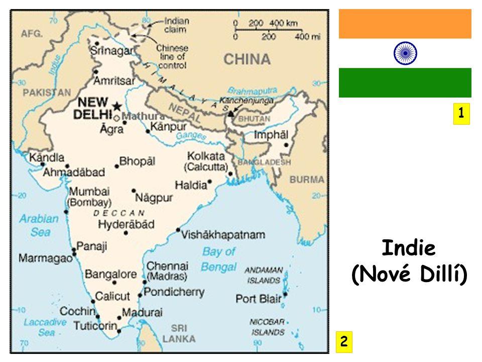 poloostrov Přední Indie ostrovy Andamany, Nikobary, Lakadivy 3 hlavní části- Dekánská plošina, Indoganžská nížina a na severu velehorská oblast do severní části zasahují Himaláje pobřeží lemuje pohoří Východní a Západní Ghát nejvyšší hora Indie – Kančendženga (3.
