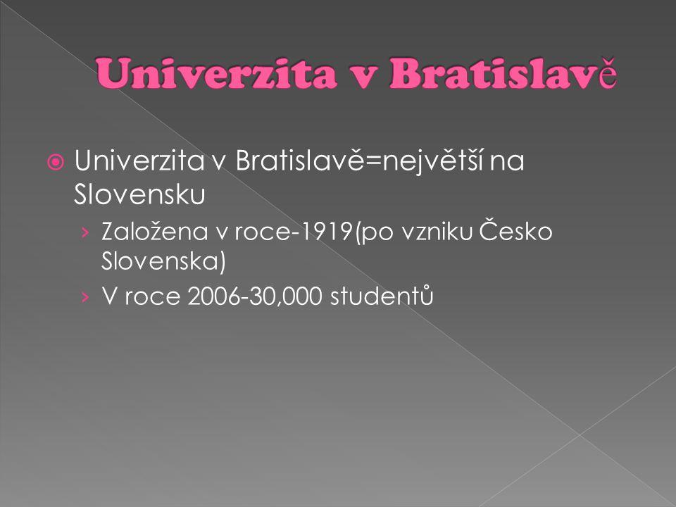  Univerzita v Bratislavě=největší na Slovensku › Založena v roce-1919(po vzniku Česko Slovenska) › V roce 2006-30,000 studentů